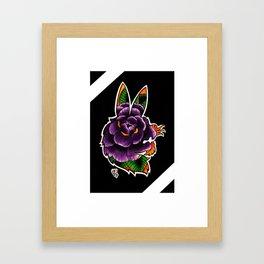 Rabbit Rose Silhouette Framed Art Print