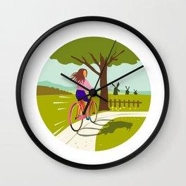 Girl Riding Bicycle Up Tree Circle Retro Wall Clock