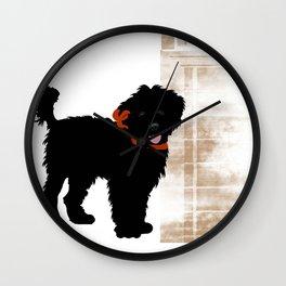 Black Labradoodle dog Wall Clock