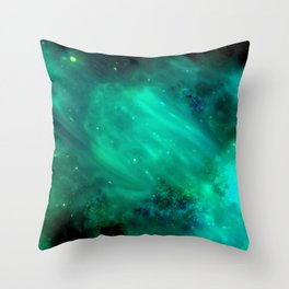 Teal Blue Indigo Sky, Stars, Space, Universe, Photography Throw Pillow