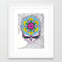 grateful dead Framed Art Prints featuring Grateful Dead Sacred Geometry Stealie by Gracie Holder