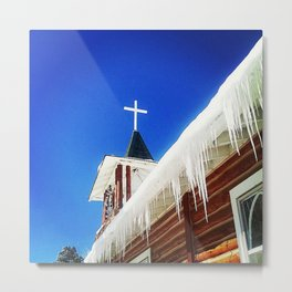 Chapel with Icicles Metal Print