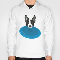 border collie Hoodies featuring Border Collie - Disc Dog 2 by Niklab