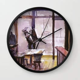 Plein air watercolor painting of interior  Pizzeria in downtown Fuquay-Varina, North Carolina Wall Clock