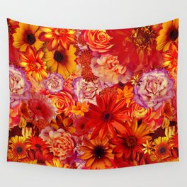 Rojo Bouquet Rich Red Hot Mixed Flowers Bright Floral Autumn Wall Tapestry
