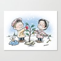 charlie brown Canvas Prints featuring A Supernatural Charlie Brown Christmas by maichan