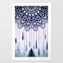 BOHO DREAMS MANDALA Art Print