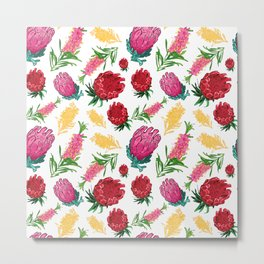 Beautiful Australian Native Floral Pattern Metal Print