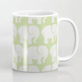 Troop Of Elephants (Elephant Pattern) - Gray Green Coffee Mug