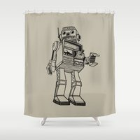 robot Shower Curtains featuring Robot. by Scott Mckenzie-Lee