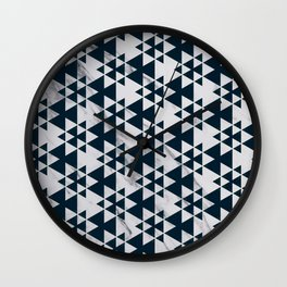 Southwestern Triangle Design over White Grey Marble Wall Clock