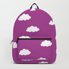 White clouds in purple pink background Backpack