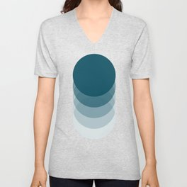 Sunrise II Teal retro abstract geometric Unisex V-Neck