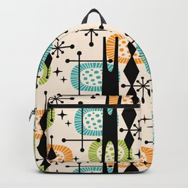 Retro Atomic Mid Century Pattern Orange Green and Turquoise Backpack