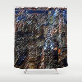 Midtown Manhattan Skyline Landscape Painting by Jéanpaul Ferro Shower Curtain
