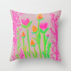 NEON BLOOM  Throw Pillow