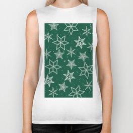 Snowflakes On Green Background Biker Tank