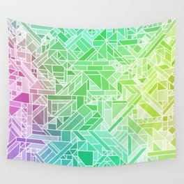 Bright Gradient (Violet Purple Lime Green Neon Yellow) Geometric Pattern Print Wall Tapestry