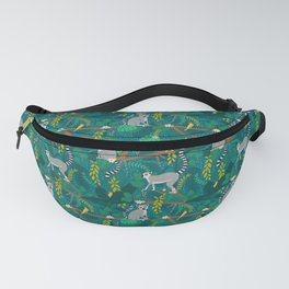 Lemurs in Teal Jungle Fanny Pack