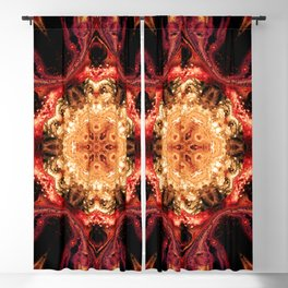 Red Orange Artistic Digital Abstract Pattern Blackout Curtain