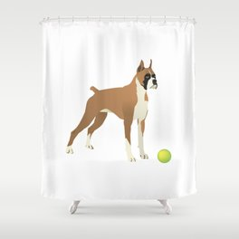 Friendly Boxer with Green Ball Shower Curtain