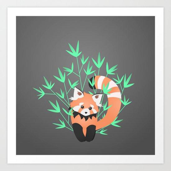 Baby Red Panda / Night Art Print
