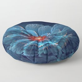3D Blue Flower V2 Floor Pillow