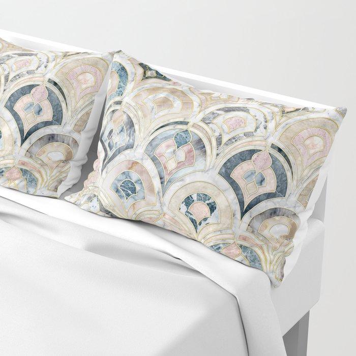 Art Deco Marble Tiles in Soft Pastels Pillow Sham