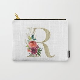 Letter R Monogram Gold and Watercolor Flowers Carry-All Pouch