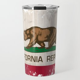 California Republic state Bear flag on wood Travel Mug