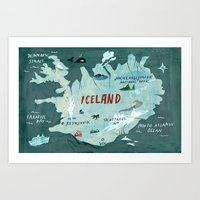 iceland Art Prints featuring Iceland by Christiane Engel