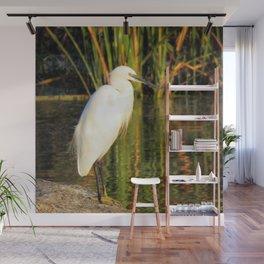 Egret at the lake Wall Mural