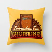 magic the gathering Throw Pillows featuring Everyday I'm Shuffling (No Dice Version)  |  Magic The Gathering by Silvio Ledbetter