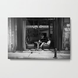 Morning coffee in a cafe - Black and white street photography Metal Print