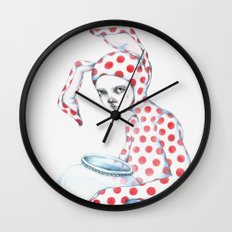 Red Dotted Bunny Wall Clock