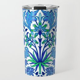 William Morris Hyacinth Print, Cobalt and Navy Blue Travel Mug