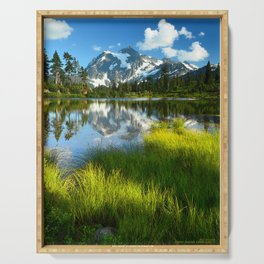 ALPINE MOUNT SHUKSAN AND PICTURE LAKE GREEN GRASS MEADOW Serving Tray