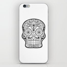 Black and White Sugar Skull iPhone Skin