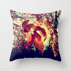 Orange Leafs Throw Pillow
