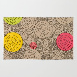 Roses Flowers Pattern Bouquet Art Print Wall Decoration Contemporary Wall Graphic Design in Beige Rug