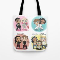cyrilliart Tote Bags featuring Adventures of 1D & LM by Cyrilliart