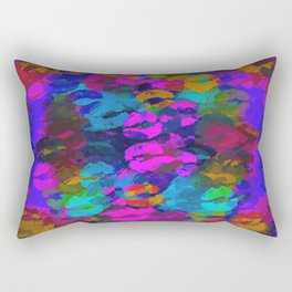 sexy kiss lipstick abstract pattern in pink blue orange red Rectangular Pillow