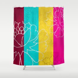 Chinese Flowers & Stripes - Pink Yellow Cyan Red Shower Curtain