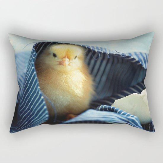 Sweet Chick under the blue towel Rectangular Pillow