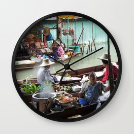 Floating Market Vendors Wall Clock