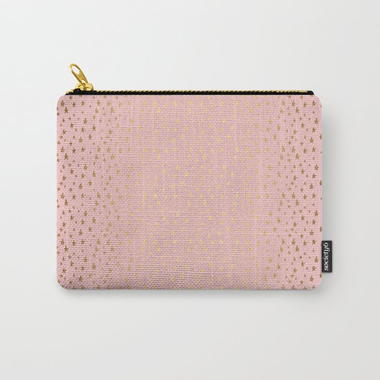 Gold and pink sparkling and shiny Stars pattern on #Society6 Carry-All Pouch
