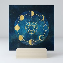 Gold Moon Phases Sun Stars Night Sky Navy Blue Mini Art Print