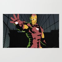 ironman Area & Throw Rugs featuring ironman  by mark ashkenazi