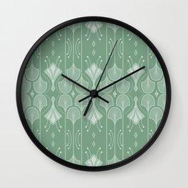 Art Deco Botanical Leaf Shapes Green Wall Clock