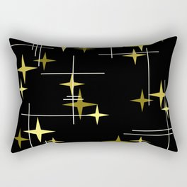 Mid Century Modern Stars Black Yellow Rectangular Pillow